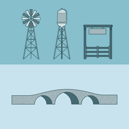 web design bridge: Farm rancho entrance countryside water tower bridge element architecture building set. Linear stroke outline flat style vector icons. Monochrome icon collection.