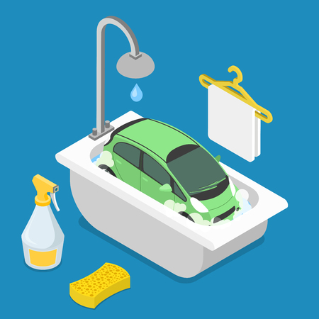 cleanser: Car wash service. Car in bathroom bath bathing shower sponge detergent cleanser cleaner clean foam foamy. Flat 3d isometry isometric style web site app icon set concept vector illustration.