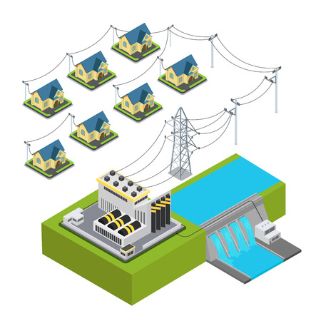 power station: Water power plant energy hydro station green village supply cycle infographic concept. Flat 3d isometry isometric style web site vector illustration. Ecology eco lifestyle sustainable world collection Illustration