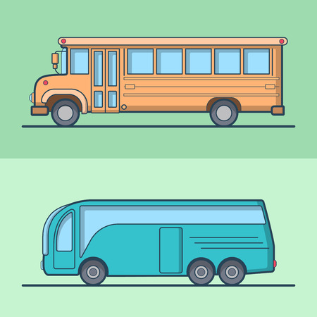 schoolbus: Modern intercity school bus retro vintage schoolbus public transport set. Linear stroke outline flat style vector icons. Color outlined icon collection. Illustration