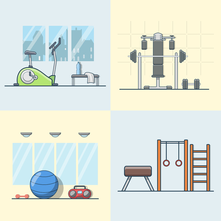 exercise equipment: Gym exercise equipment room interior indoor set. Linear stroke outline flat style vector icons. Color cycle bike power weight lifting gymnastics rings ball wall bars icon collection.