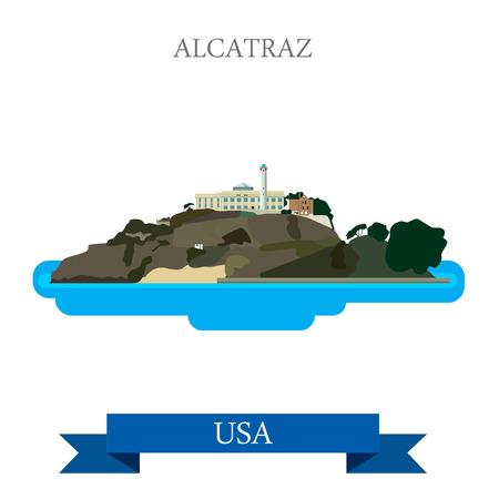 showplace: Alcatraz Island Prison in San Francisco United States. Flat cartoon style historic sight showplace attraction web site vector illustration. World travel sightseeing North America USA collection. Illustration