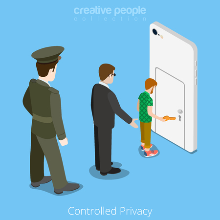 controlled: Controlled privacy device access concept. Flat 3d isometry isometric style web site vector illustration. Military man security officer staying behind user smartphone door. Creative people collection. Illustration