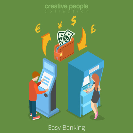 easy money: Easy bank business finance money flow 3d concept. Banking terminal ATM wallet currency exchange. Flat isometric isometry conceptual vector web site illustration template. Creative people collection