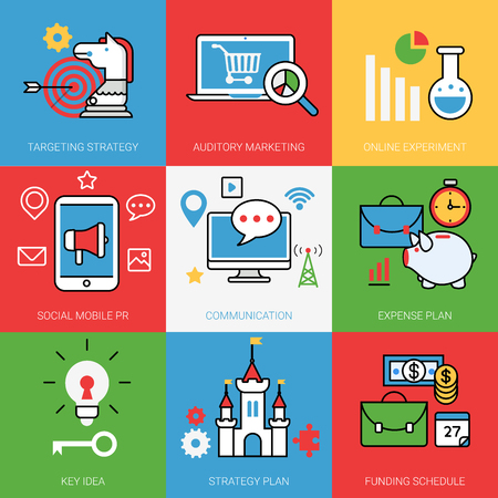 Communication strategy: Business cycle startup process concept vector illustration set. Line art color style web banner image. Auditory Marketing targeting strategy online experiment social mobile PR communication expense plan Key idea Strategy Plan Funding schedule analytics.