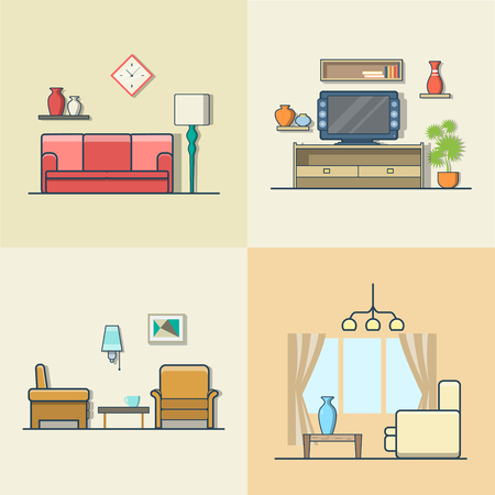 indoor: Living room interior indoor set. Linear colorful stroke outline flat style vector icons. Color icon collection.