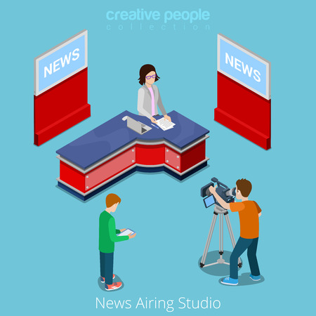 host: News airing studio online broadcasting concept. Flat 3d isometry isometric style web site app icon set concept vector illustration. TV host presenter shot process. Creative people collection. Illustration
