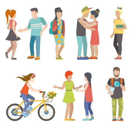Casual urban young people bicycle skater student couple flat web infographic concept vector icon set. Group creative young male female city bicycle skate board couple dating student male female.