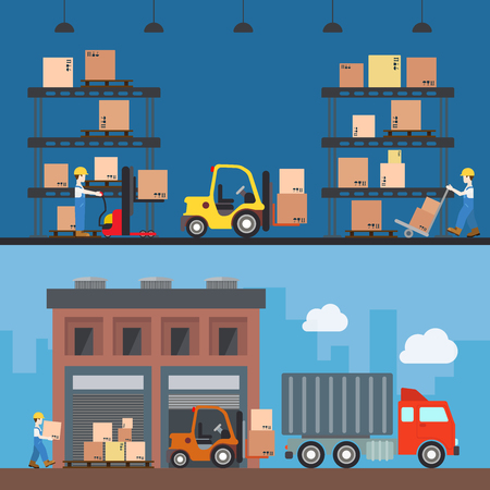 work crate: Warehouse delivery storage building interior exterior indoor outdoor loader loading worker wheel fork box crate package rack concept web site illustration. Flat style website creative vector template.
