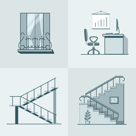 mono color: Balcony office workplace ladder linear outline architecture building element set. Linear stroke outline flat style vector icons. Mono color icon collection.
