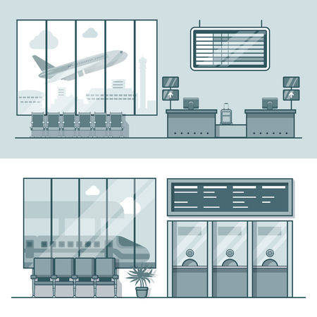 office icon: Airport registration reception desk railway train station ticket desk office interior indoor set. Linear stroke outline flat style vector icons. Monochrome icon collection.