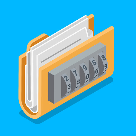 ring file: Secure data file folder with ring code lock icon. Flat 3d isometry isometric web vector illustration.