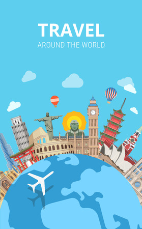 Travel around the world sightseeing template flyer flat style web vector. Globe plane popular city capital sight landmark around Big Ben Kremlin Buddha Colosseum Pagoda Jesus Redeemer Vectores