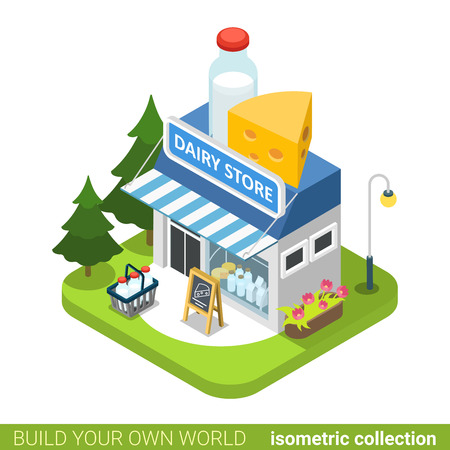 bung: Dairy shop building realty real estate concept. Flat 3d isometry isometric style web site app icon set concept vector illustration. Build your own world architecture collection. Illustration