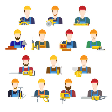 profession: Building industry builders profession worker staff userpic avatar creative people icon set. Flat style carpenter painter decorator mason bricklayer stonemason builder laborer hunky tiler app icons.