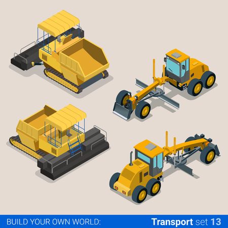 Flat 3d isometric style modern road highway surface making construction site wheeled track vehicles transport web app icon set concept. Asphalt paver paving machine combine harvester.