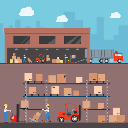 warehouse building: Warehouse delivery storage building interior exterior indoor outdoor loader loading worker wheel fork box crate package rack concept web site illustration. Flat style website creative vector template.