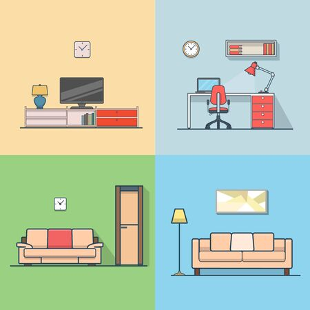 condo: Condo accommodation living room cosy modern minimalism minimal interior indoor set. Linear stroke outline flat style vector icons. Color TV set cabinet shelf stand sofa workplace icon collection. Illustration