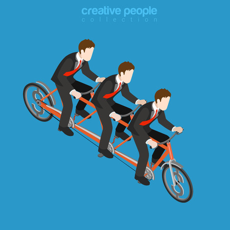metaphoric: Business corporate company team work concept. Flat 3d isometric web infographics vector illustration. Three businessmen riding triple tandem bike. Creative people collection. Illustration
