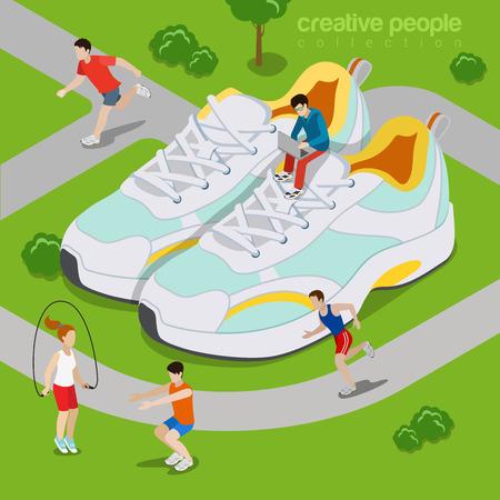 Bieganie na zewnątrz sportowych koncepcji życia. Mieszkanie 3d izometria izometryczny styl ilustracji wektorowych strona internetowa. Micro sportowiec ćwiczenia prowadzony parku wokół ogromnych butów sneakers sportowych. Twórczy ludzie kolekcji.