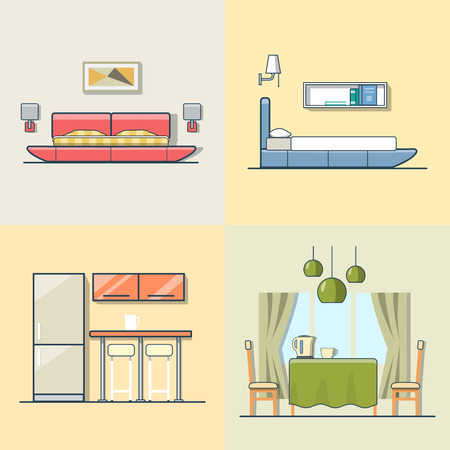 mono color: Bedroom kitchen living dining room interior indoor set. Linear multicolor stroke outline flat style vector icons. Color icon collection.