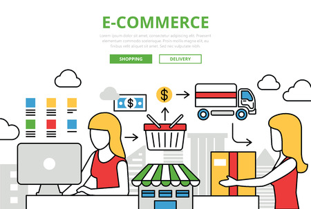 web shopping: E-commerce online shopping sale delivery concept flat line art vector icons. Modern website infographics illustration hero image web banner. Lineart collection. Illustration