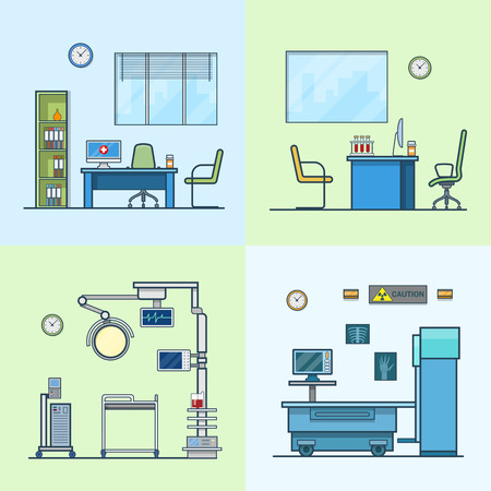 dispensary: Hospital clinic medical medicine dispensary lab operation room x-ray roentgen doctor cabinet interior indoor set. Linear stroke outline flat style vector icons. Color icon collection. Illustration