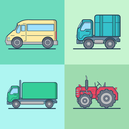 wheeled tractor: Bus Van Lorry Tractor road transport set. Linear multicolor stroke outline flat style vector icons. Color icon collection.
