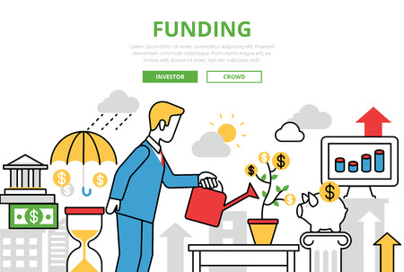 investor: Investment Funding concept flat line art vector icons. Modern website infographics illustration hero image web banner. Lineart collection. Man investor watering feeding startup  coin plant growing.