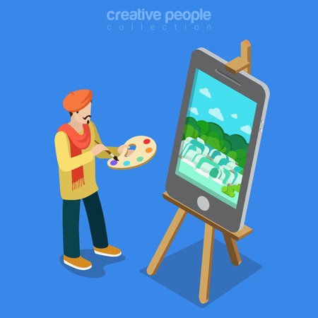 artists: Digital art artist at work concept. Flat 3d isometric isometry web vector illustration. Painter palette smartphone painting on easel stand. Creative people collection. Illustration