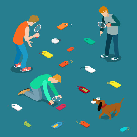 seek: Tagging labeling tag label search concept. Young men dog seek scattered tags. Flat 3d isometry isometric style web site app icon set concept vector illustration. Creative people collection. Illustration