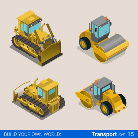 construction icon: Flat 3d isometric style modern road highway surface making construction site wheeled track vehicles transport web app icon set concept. Tipper tip truck asphalt paver paving machine combine harvester. Illustration