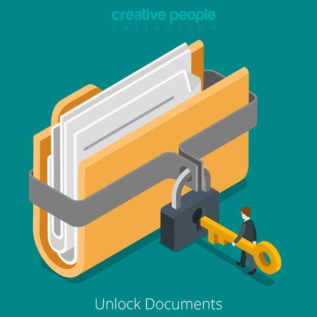 Unlock folder secure data file document with lock key icon. Flat 3d isometry isometric web vector illustration.