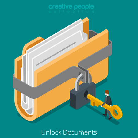 secure data: Unlock folder secure data file document with lock key icon. Flat 3d isometry isometric web vector illustration.