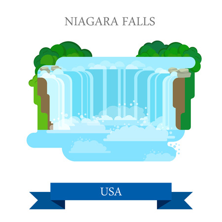 points of interest: Niagara Falls in United States  Canada. Flat cartoon style historic sight showplace attraction web site vector illustration. World countries vacation travel sightseeing North America USA collection. Illustration