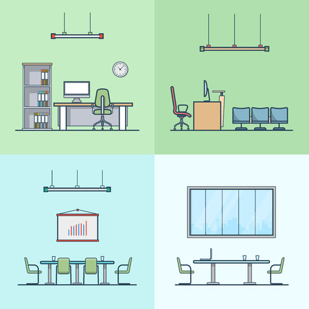 conference table: Office meeting conference room cabinet table chair interior indoor set. Linear stroke outline flat style vector icons. Color icon collection. Illustration