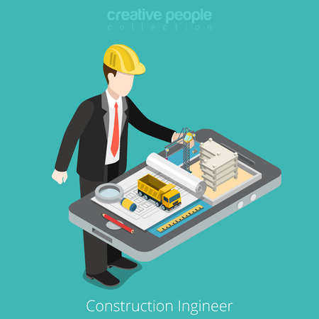 construct site: Construction engineer, architect. Male worker over tablet scheme construct site crane. Flat 3d isometry isometric style web site app icon set concept vector illustration. Creative people collection.