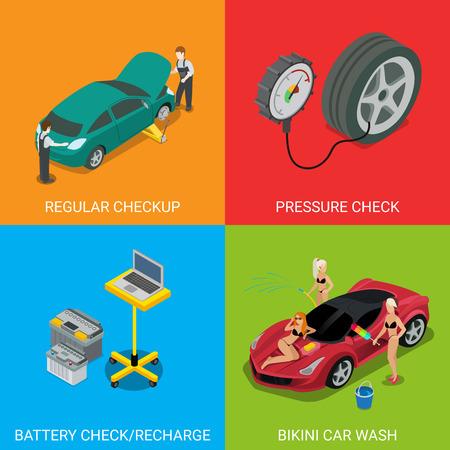 Car service regular checkup pressure check battery recharge bikini car wash. Flat 3d isometry isometric style web site app icon set concept vector illustration. Creative people collection. Иллюстрация