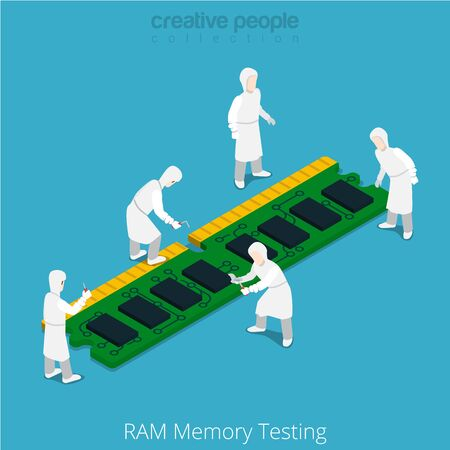 serviceman: RAM memory testing repair service. Serviceman working on memory chip module. Flat 3d isometry isometric style web site app icon set concept vector illustration. Creative people collection.