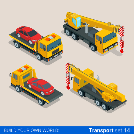 wheeled tractor: Flat 3d isometric style modern road highway surface making construction site wheeled track vehicles transport web app icon set concept. Tipper tip truck asphalt paver paving machine combine harvester. Illustration