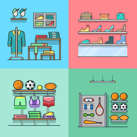 clothing shop: Boutique clothes clothing accessory shoes sports inventory tool shop store interior indoor set. Linear stroke outline flat style vector icons. Color icon collection.