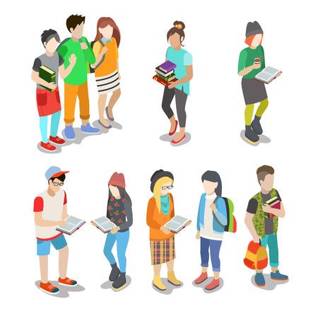 estudiante: Activos jóvenes urbanos de estudiantes casuales de la calle plana Web 3d isométrica amistad infografía concepto del icono conjunto de vectores. personas colección creativa.