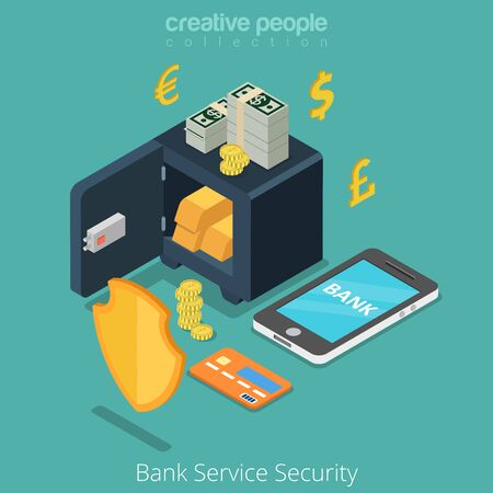 metaphoric: Bank Service Security mobile safe anti fraud banking concept. Money currency coin shield credit card currency. Flat 3d isometric isometry conceptual web site vector illustration.