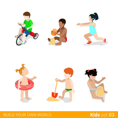 parenting: Active beach vacation children at play parenting flat web infographic concept vector icon set. Riding bicycle sand building yoga swim ring. Creative people collection.