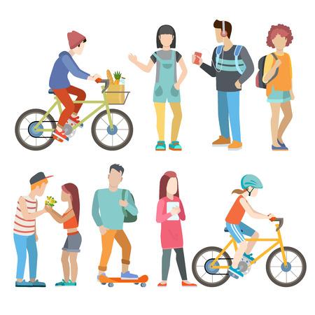 カジュアルな都市若者自転車スケーター学生カップル フラット web インフォ グラフィック概念ベクトル アイコンを設定します。創造的な若い男性女