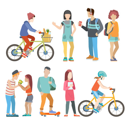 people  male: Casual urban young people bicycle skater student couple flat web infographic concept vector icon set. Group creative young male female city bicycle skate board couple dating student male female.