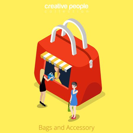 real people: Bags and accessory bag shape boutique kiosk building shop realty real estate concept. Flat 3d isometry isometric style web site app icon set concept vector illustration. Creative people collection. Illustration