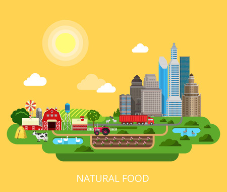 stock breeding: Natural Food Farm agriculture products city supply process flat style concept vector template. Nature eco farming collection.