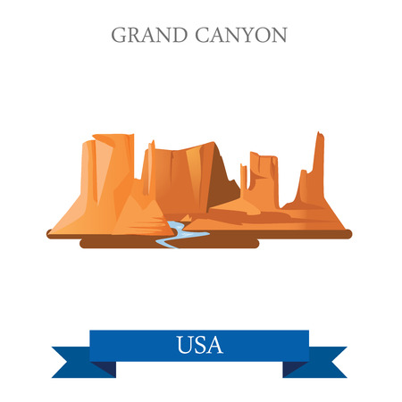 Grand Canyon National Park in Arizona United States. Flat cartoon style historic sight showplace attraction web site vector illustration. World vacation travel sightseeing North America USA collection Ilustração