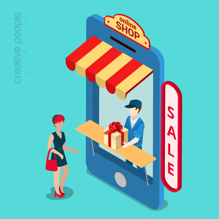 isometry: Online mobile shop store sale delivery shopping concept. Showcase in smartphone screen. Flat 3d isometry isometric style web site app icon set concept vector illustration. Creative people collection.